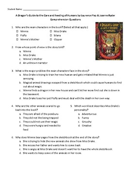 A Dragon's Guide to the Care and Feeding of Humans Comprehension Questions