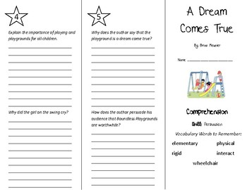A Dream Comes True Trifold - Treasures 5th Grade Unit 6 Week 3 (2011)