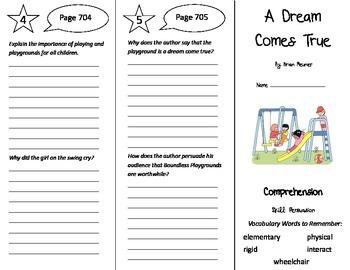 A Dream Comes True Trifold - Treasures 5th Grade Unit 6 Week 3