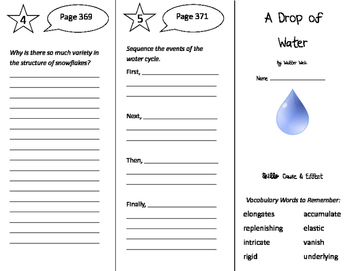 A Drop of Water Trifold - Storytown 5th Grade Unit 3 Week 4