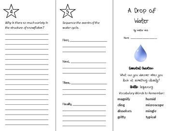 A Drop of Water Trifold - Wonders 4th Grade Unit 5 Week 4