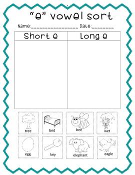 A, E, I, O, U Long & Short Vowel Sorts