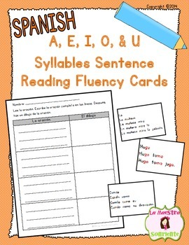 Sentence Fluency Cards: Reading U Syllables (Spanish)