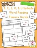 Word Fluency Cards: Reading U Syllables (Spanish)