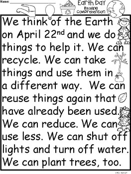 A+ Earth Day Comprehension: Differentiated Instruction For Guided Reading
