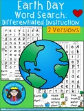 A+ Earth Day Word Search: Differentiated Instruction