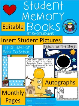 A+ Editable Student Memory Books: Monthly Pages, Autograph Pages