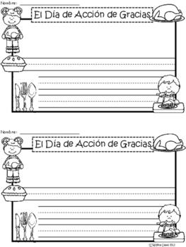 A+ El Día de Acción de Gracias (Thanksgiving) Spanish Differentiated Writing