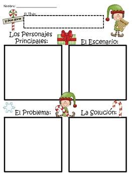 A+ El Duende Navideno: Elf Blank Story Maps....Los Elementos del Cuento