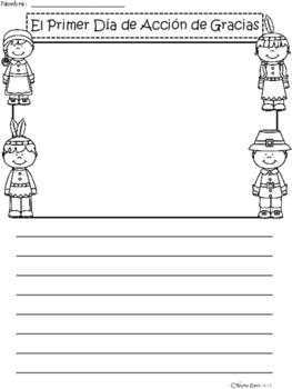 A+ El Primer Día de Acción de Gracias Spanish Differentiated Writing Paper