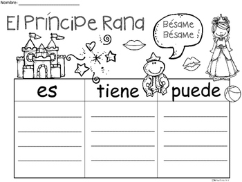 A+ El Príncipe Rana...Three Spanish Graphic Organizers