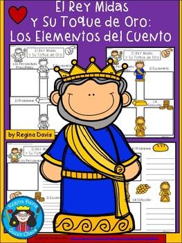 A+ El Rey Midas y Su Toque de Oro-Los Elementos del Cuento-King Midas Story Maps