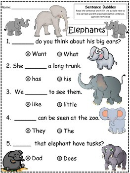 A+ Elephants: Fill In the Blank.Multiple Choice Sight Word Sentences