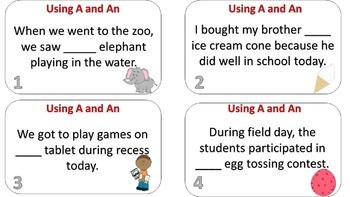 A Elephant or An Elephant? Using An and A Task Card