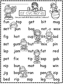 A+ Elf: CVC Words And Letter Reading Practice