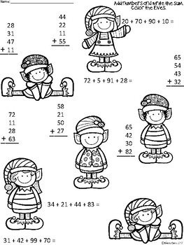 A+ Elves Addition: Adding Up To 4...2-Digit Numbers