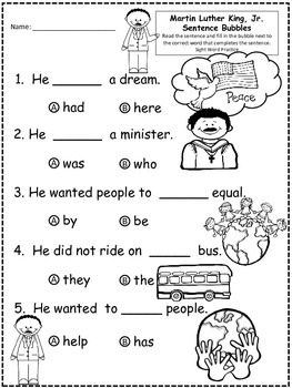 A+Martin Luther King, Jr: Fill In the Blank.Multiple Choice Sight Word Sentences