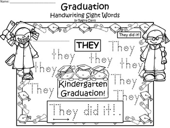 A+ 50 Kindergarten Sight Words: Graduation Handwriting Practice