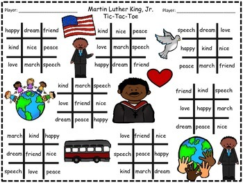 A+ Martin Luther King, Jr. Tic-Tac-Toe  Word Practice