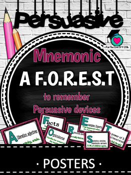 PERSUASIVE WRITING DEVICES - A F.O.R.E.S.T mnemonic/prompt posters