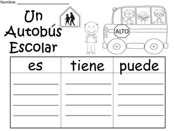 A+ FREEBIE: Autobus Escolar...Three Spanish Graphic Organizers
