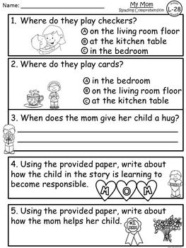 A+ Mother's Day Guided Reading L-28-Book, Lesson Plan, Assessment, Writing