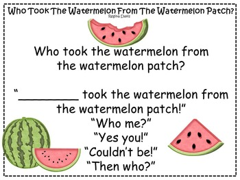 A+ FREEBIE:  Who Took The Watermelon From The Watermelon Patch? Game