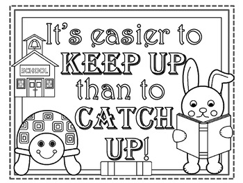 A+ FREEBIE....It's Easier To Keep Up Than To Catch Up Classroom Poster