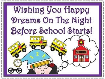 A+ FREEBIE....Teacher Motivational Poster:  Wishing You Happy Dreams...