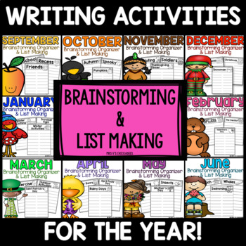 A FULL YEAR of Brainstorming and List Making Pages for Writing