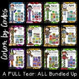 A FULL Year of Math & Literacy Color by Codes-- All Bundled Up!