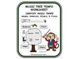A FUN MUSIC TEMPO WORKSHEET/ASSESSMENT !  GREAT FOR SUBS!