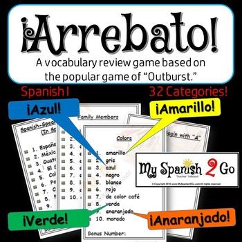 "A FUN SPANISH REVIEW GAME! Arrebato! (Like ""Outburst!"")--Spanish I or II"