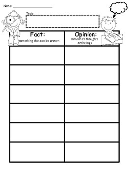A+ Fact And Opinion Chart...Graphic Organizer