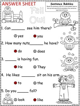 A+ Fall Owls: Fill In the Blank.Multiple Choice Sight Word Sentences