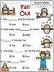 A+ Fall Owls: Fill In the Blank.Multiple Choice Sight Word