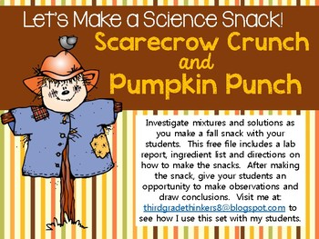A Fall Science Snack: Scarecrow Crunch and Pumpkin Punch
