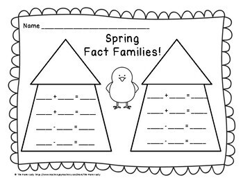Spring Time 1st Grade Fact Families