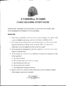 A Farewell to Arms Close Reading Study Guide CC Aligned