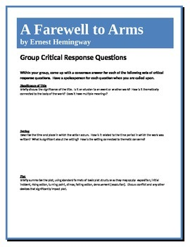 A Farewell to Arms - Hemingway - Group Critical Response Questions