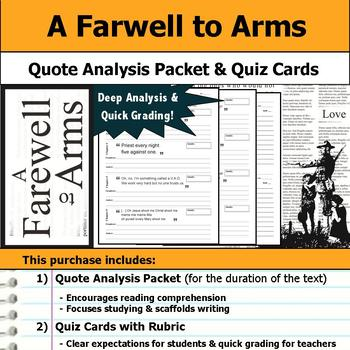 A Farewell to Arms - Quote Analysis & Reading Quizzes