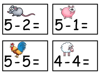 A+  Farm Animals Addition & Subtraction Fluency Practice Cards # 0-5