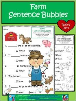 A+ Farm: Fill In the Blank.Multiple Choice Sight Word Sentences