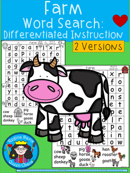 A+ Farm Word Search: Differentiated Instruction