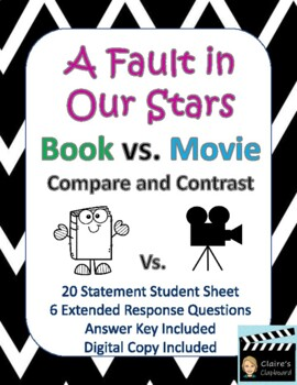 A Fault in Our Stars Book vs. Movie Compare and Contrast