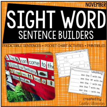 A Feast of Sight Words {Sight Word Sentence Building Activities for November}