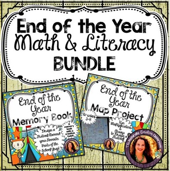 Memory Book Bundle: End of the Year Memory Book & Math Project Grades 3-5