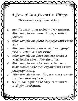 Beginning of Year / My Favorite Things