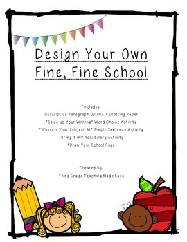 3rd Grade Journeys A Fine, Fine School Descriptive Writing Packet