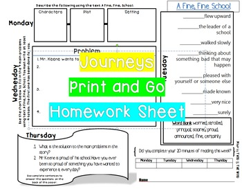 A Fine Fine School Journeys Lesson 1 Print and Go Homework No Prep
